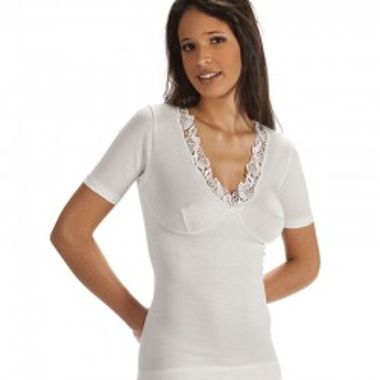 Maglia lana e cotone VAJOLET  donna manica corta forma seno art. MM 4511