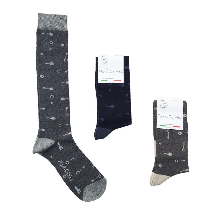 MASK-CALZINO set 3 paia calze cotone caldo lunghe unisex KEYS