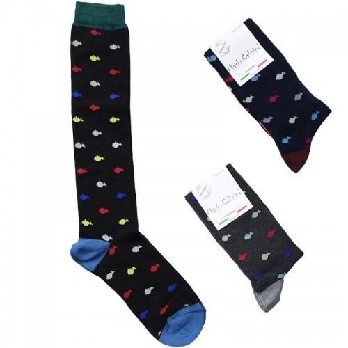 MASK-CALZINO set 3 paia calze cotone caldo lunghe unisex PESCI
