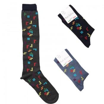 MASK-CALZINO set 3 paia calze cotone caldo lunghe unisex TETRIS
