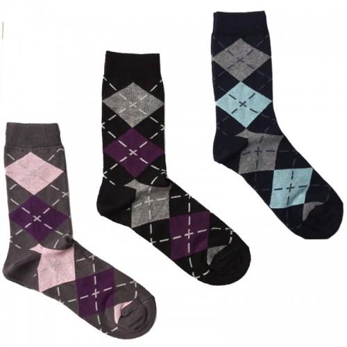MASK-CALZINO set 3 paia calze cotone caldo corte unisex SCACCHI