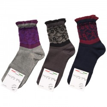 MASK-CALZINO set 3 paia calze cotone caldo donna FIORI RETE