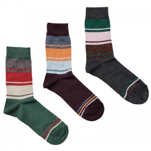 MASK-CALZINO set 3 paia calze cotone caldo corte donna BANDE LUREX