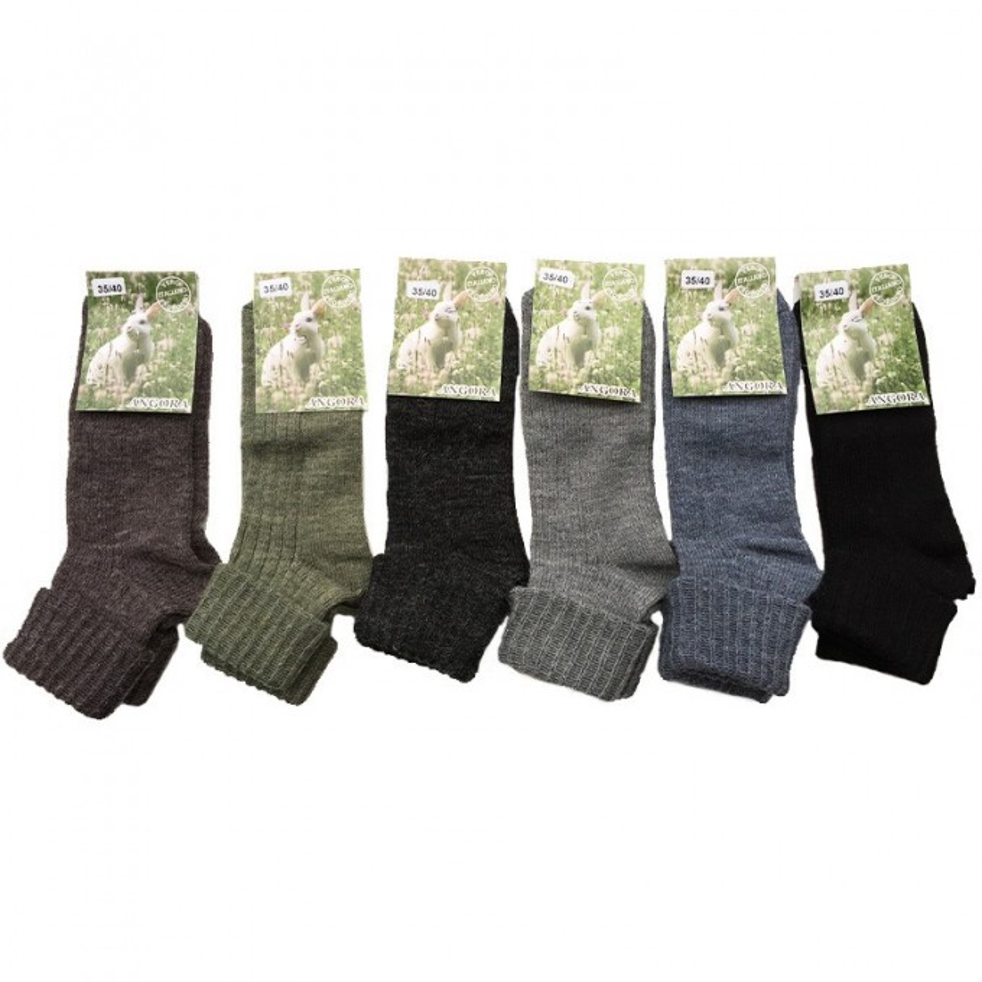 Set 6 paia di calze corte donna in angora e lana con risvolto