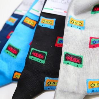4 Paia calze lunghe in cotone elasticizzato MASK-CALZINO uomo musicassette