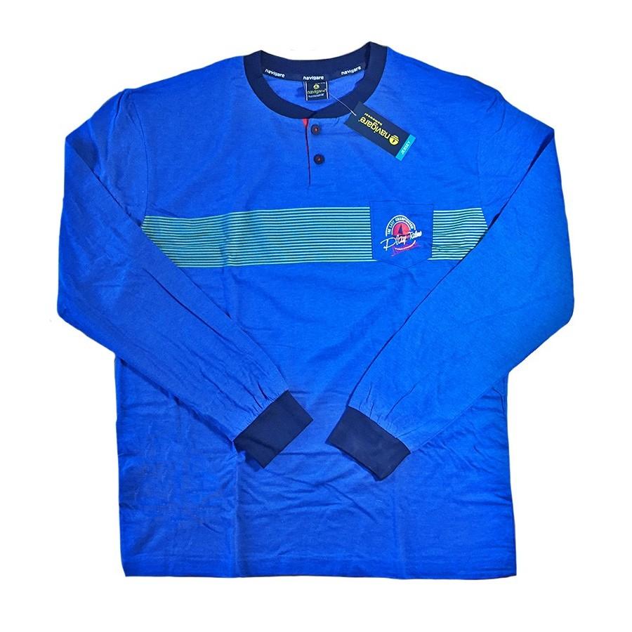 Pigiama in cotone jersey NAVIGARE lungo uomo art. 140600