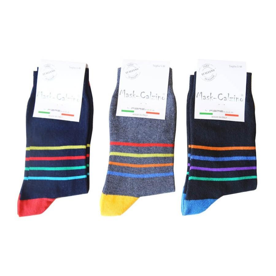 MASK-CALZINO conf.3 calza cotone caldo corta unisex disegno righetta