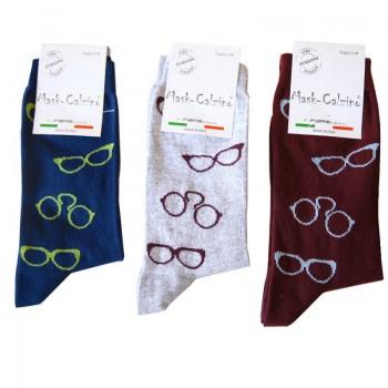 MASK-CALZINO conf.3 paia calza cotone caldo corta unisex disegno occhiali