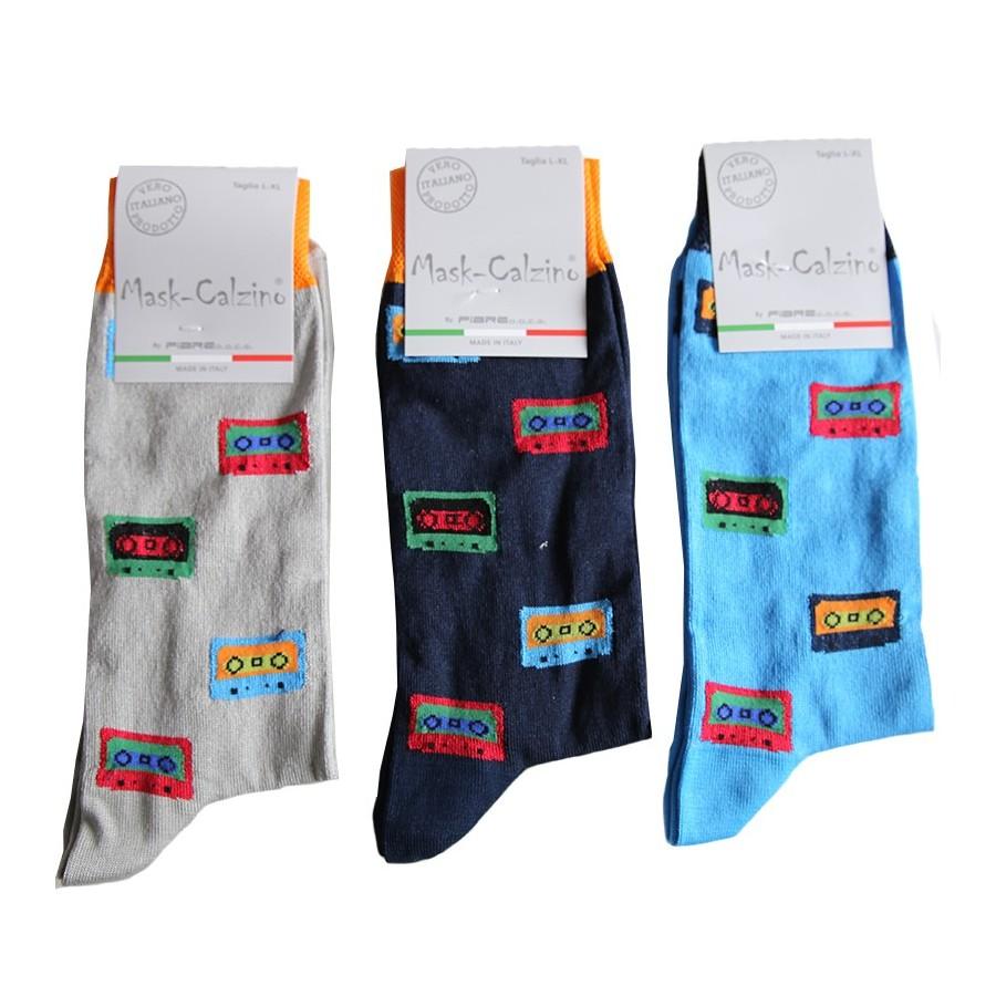 MASK-CALZINO conf.3 calza cotone elasticizzato corta uomo disegno cassetta