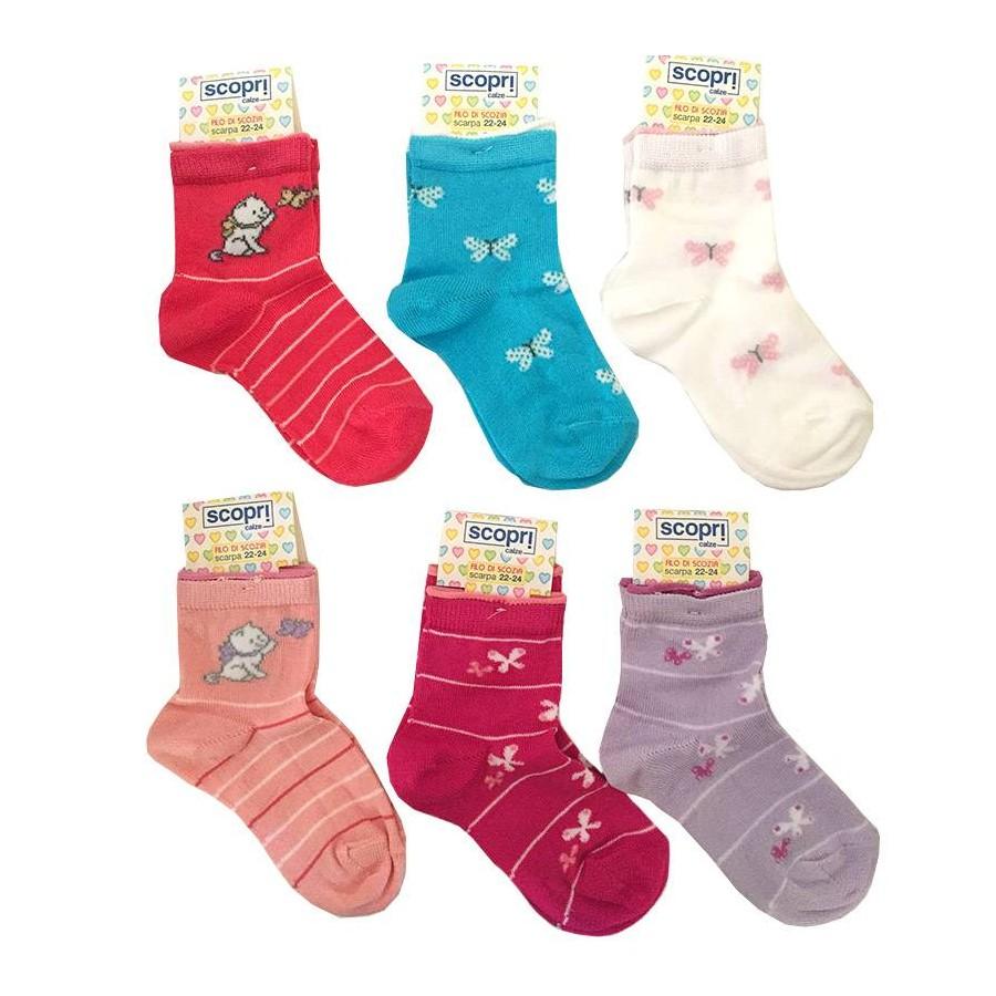 6 Paia calzini corti neonata in cotone leggero PRISCO