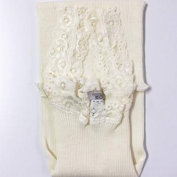 Canotta lana e seta plissé EGI spalla in pizzo art. 1491