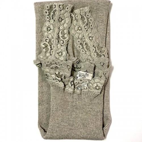 Canotta lana e seta costina plissé EGI spalla in pizzo 1491