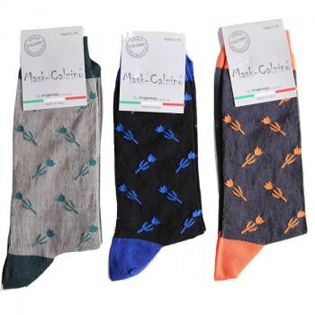 3 Paia calze corte in cotone elasticizzato uomo MASK-CALZINO fiori