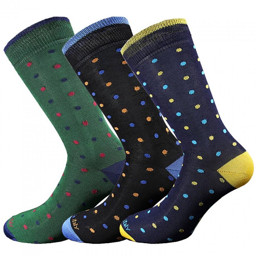 3 Paia calze in cotone filo di scozia uomo corte fantasia Pois