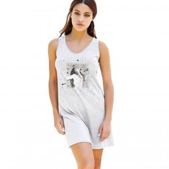 Pigiama maxi maglia in cotone e modal JADEA donna art. 3061