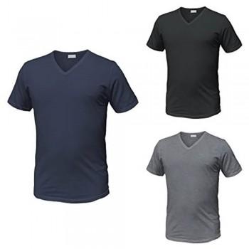 (3pz) T-Shirt puro cotone scollo a V ENRICO COVERI (anche taglie maxi) ET1101