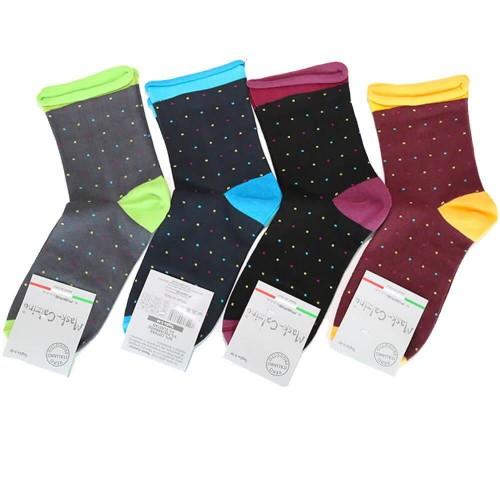 MASK-CALZINO conf.4 calza cotone elasticizzato corta donna fantasia pois