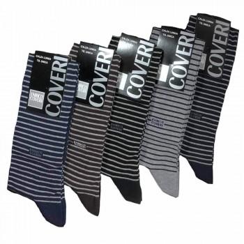 Calze lunghe in cotone elasticizzato ENRICO COVERI rigato (5paia)
