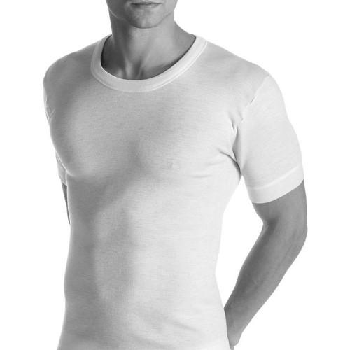 Nottingham Maglietta Intima Uomo Cotone Elasticizzato Girocollo Manica Corta Full Bianco O Nero